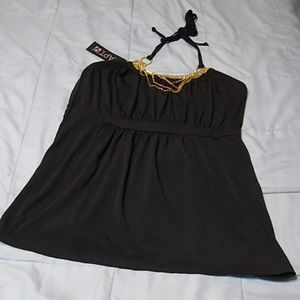 Apt. 9 Black Silky Halter Top with Gold Chains S